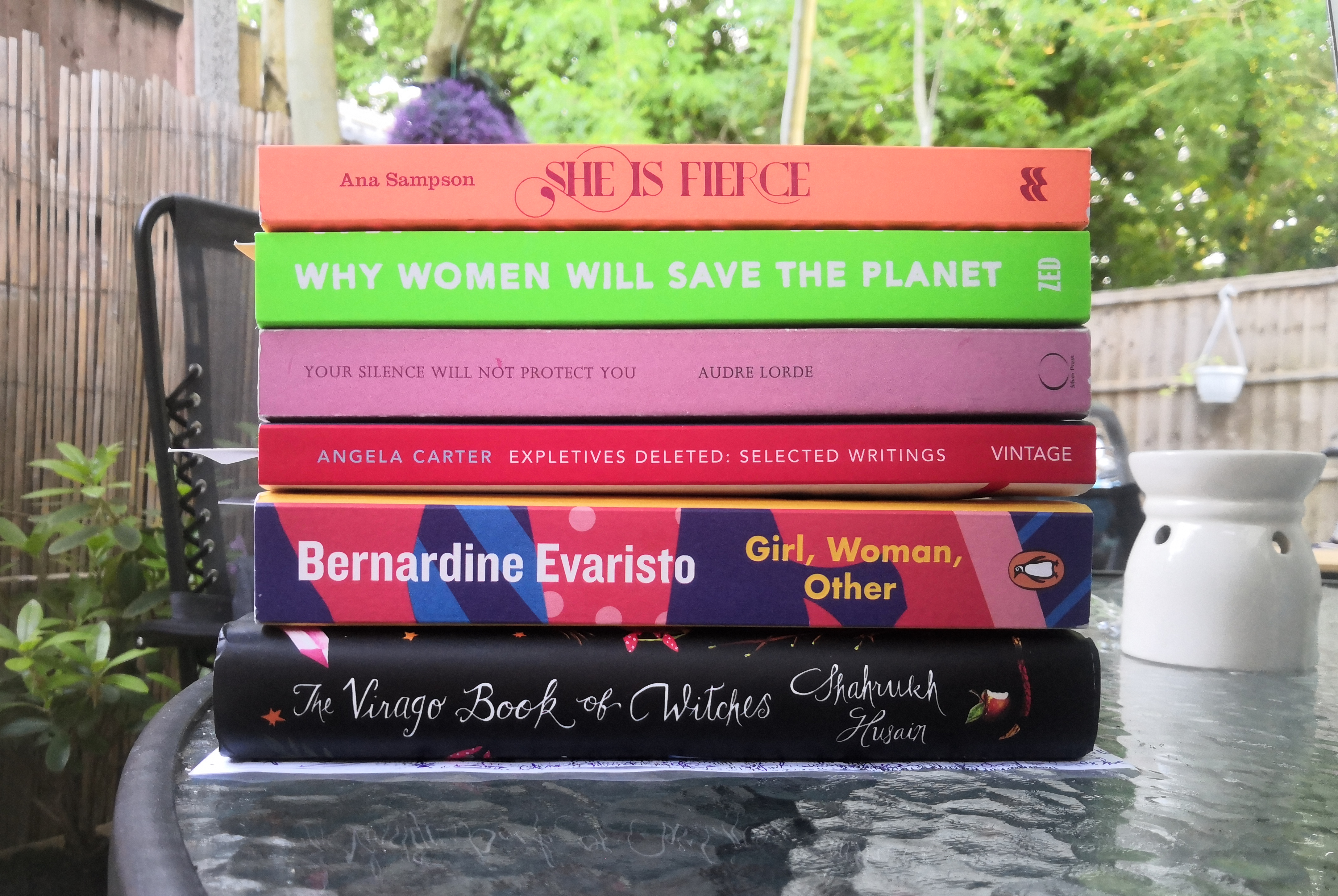 Spines of selected books from the list